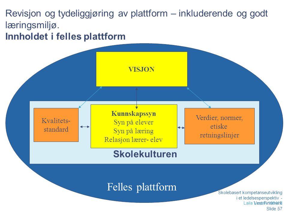 Revisjon og tydeliggjøring av plattform – inkluderende og godt læringsmiljø.