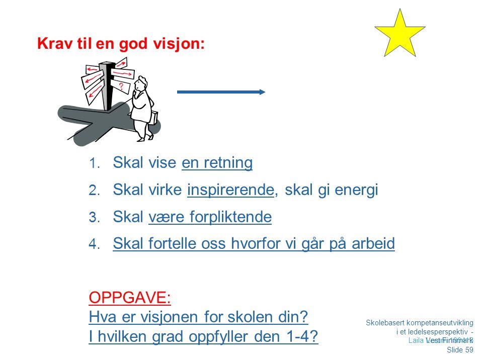 Krav til en god visjon: 1. Skal vise en retning 2.