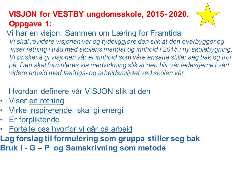 VISJON for VESTBY ungdomsskole, 2015- 2020.