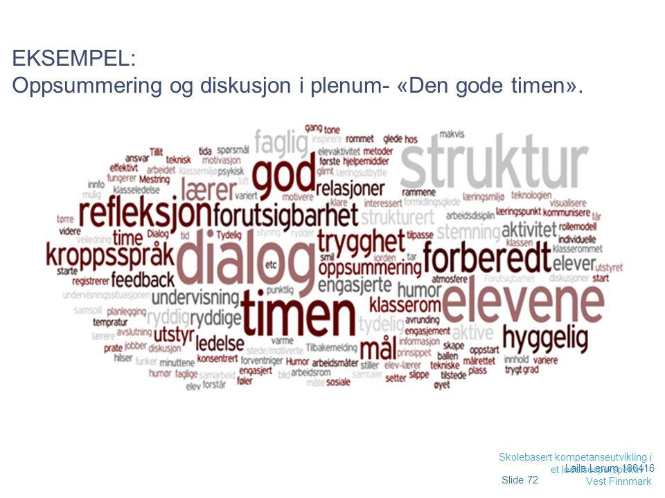 EKSEMPEL: Oppsummering og diskusjon i plenum- «Den gode timen».