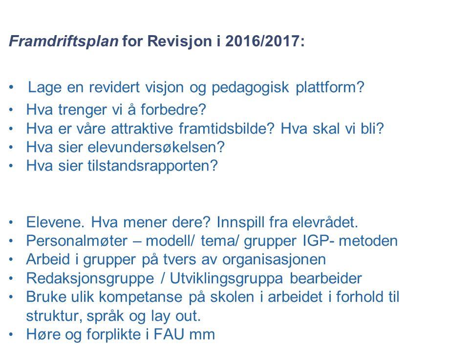 Framdriftsplan for Revisjon i 2016/2017: Lage en revidert visjon og pedagogisk plattform.