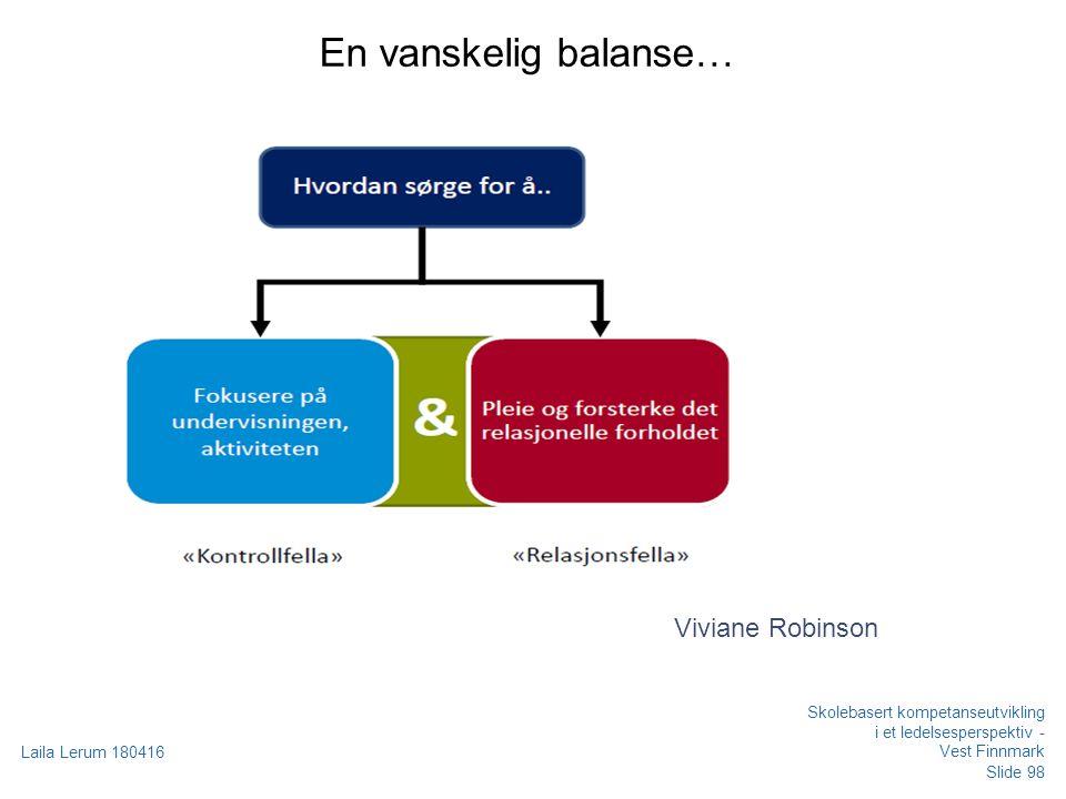 En vanskelig balanse… Viviane Robinson Skolebasert kompetanseutvikling i et ledelsesperspektiv - Vest Finnmark Laila Lerum 180416 Slide 98