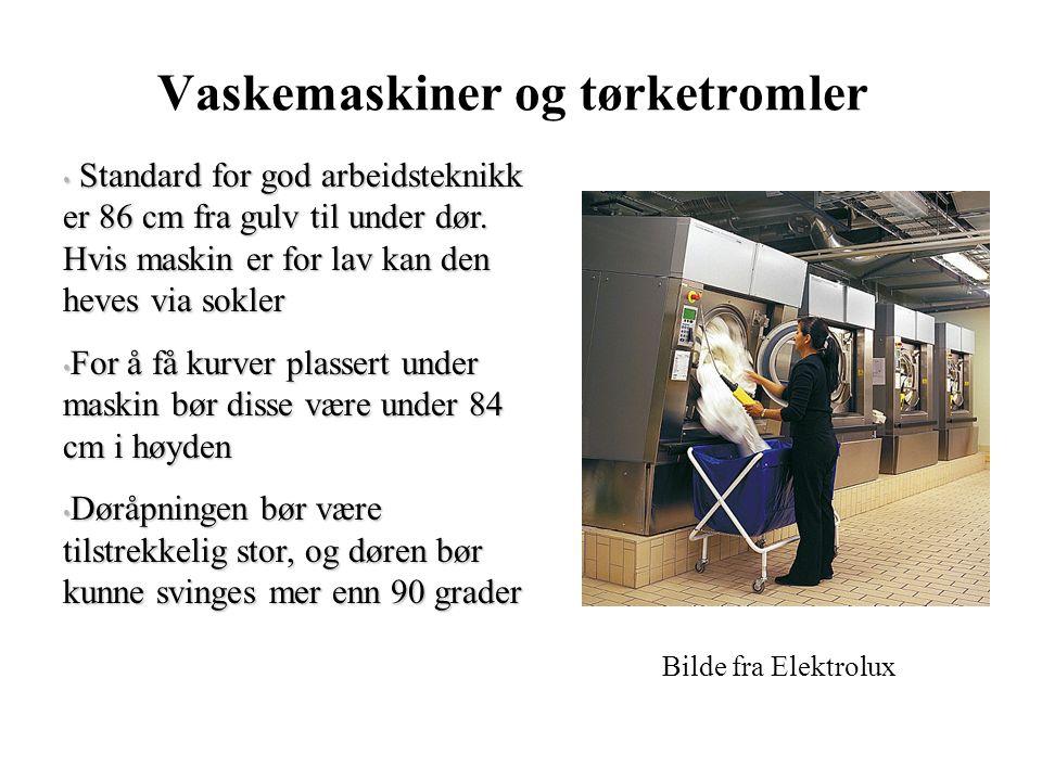 Vaskemaskiner og tørketromler Standard for god arbeidsteknikk er 86 cm fra gulv til under dør.