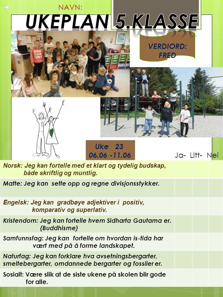 Uke 23 06.06 -11.06 Norsk: Jeg kan fortelle med et klart og tydelig budskap, både skriftlig og muntlig.