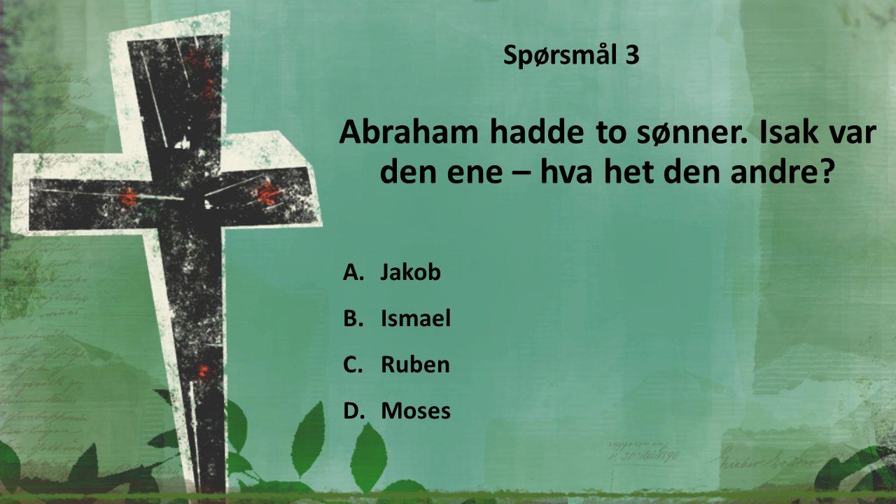 Hvem bygget den største båten i Bibelen? A.Jona B.Aron C.Job D.Noah Spørsmål 4