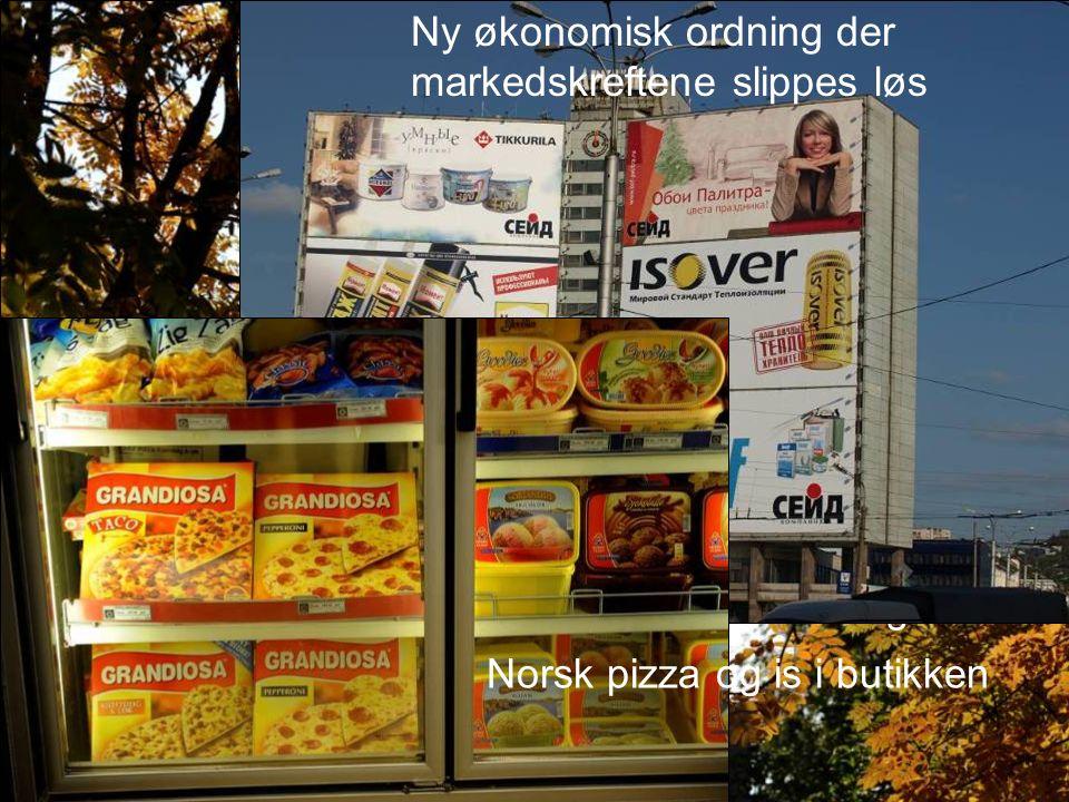 Lenin – fremdeles på sokkel, men har trådt i bakgrunnen Ny økonomisk ordning der markedskreftene slippes løs Norsk pizza og is i butikken