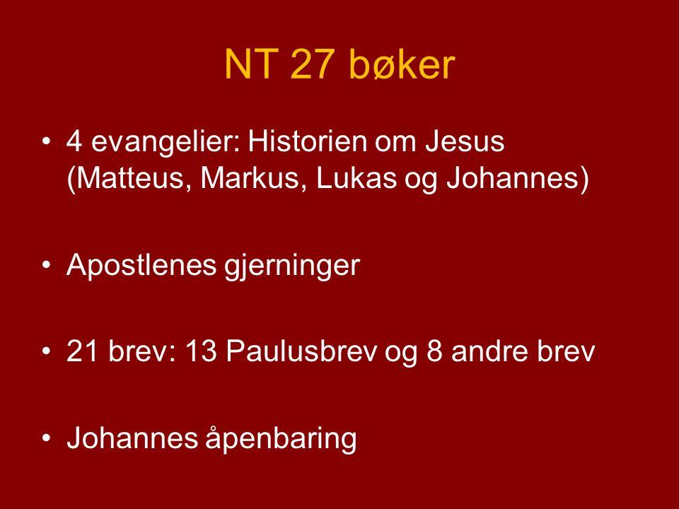 NT 27 bøker 4 evangelier: Historien om Jesus (Matteus, Markus, Lukas og Johannes) Apostlenes gjerninger 21 brev: 13 Paulusbrev og 8 andre brev Johannes åpenbaring