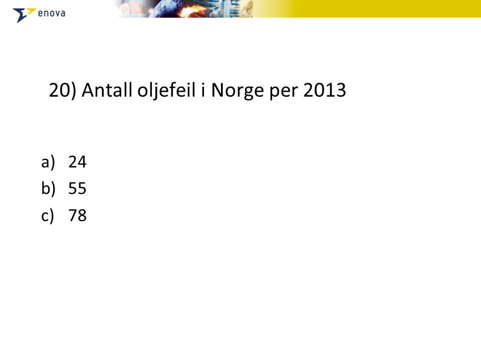 20) Antall oljefeil i Norge per 2013 a)24 b)55 c)78