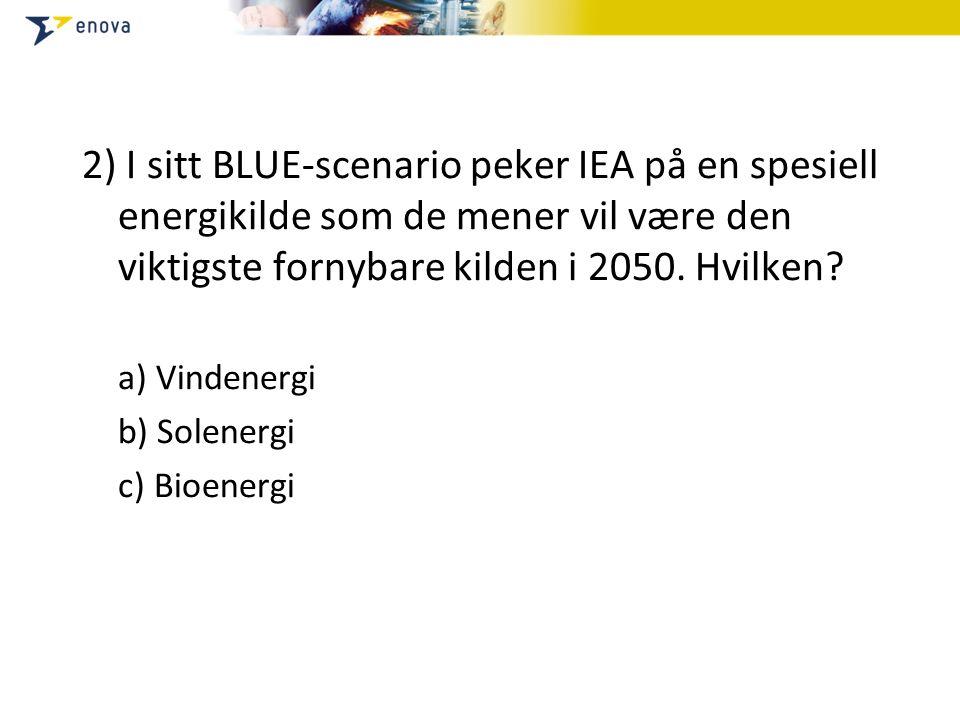 2) I sitt BLUE-scenario peker IEA på en spesiell energikilde som de mener vil være den viktigste fornybare kilden i 2050. Hvilken? a) Vindenergi b) So