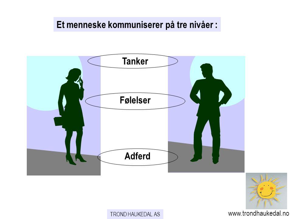 TROND HAUKEDAL AS www.trondhaukedal.no Et menneske kommuniserer på tre nivåer : Tanker Følelser Adferd