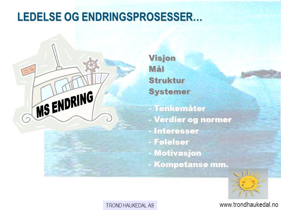 VisjonMålStrukturSystemer - Tenkemåter - Verdier og normer - Interesser - Følelser - Motivasjon - Kompetanse mm.