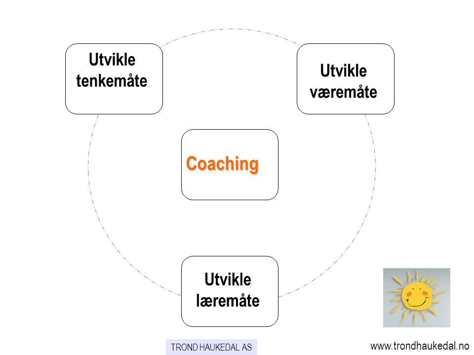 Utvikle tenkemåte Utvikle væremåte Utvikle læremåte Coaching www.trondhaukedal.no TROND HAUKEDAL AS