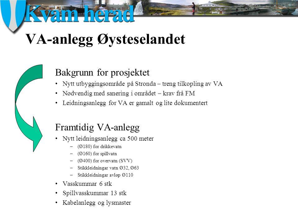 VA-anlegg Øysteselandet Bakgrunn for prosjektet Nytt utbyggingsområde på Stronda – treng tilkopling av VA Nødvendig med sanering i området – krav frå FM Leidningsanlegg for VA er gamalt og lite dokumentert Framtidig VA-anlegg Nytt leidningsanlegg ca 500 meter –(Ø180) for drikkevatn –(Ø160) for spillvatn –(Ø400) for overvatn (SVV) –Stikkleidningar vatn Ø32, Ø63 –Stikkleidningar avløp Ø110 Vasskummar 6 stk Spillvasskummar 13 stk Kabelanlegg og lysmaster