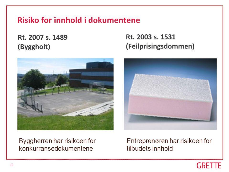 10 Risiko for innhold i dokumentene Rt. 2003 s. 1531 (Feilprisingsdommen) Rt. 2007 s. 1489 (Byggholt) Byggherren har risikoen for konkurransedokumente