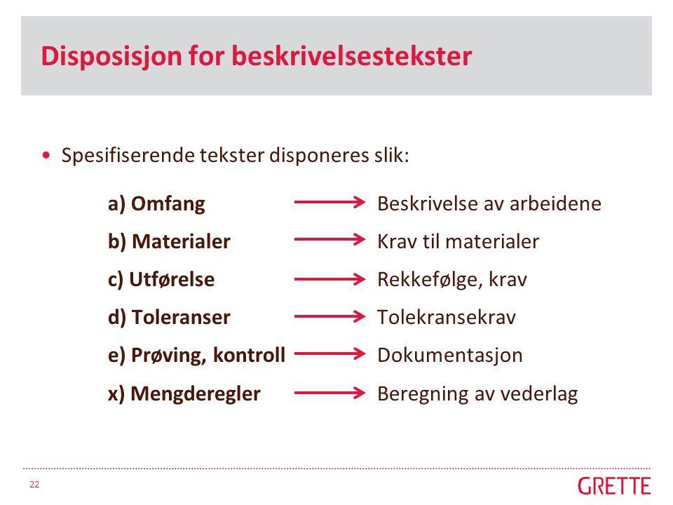 Disposisjon for beskrivelsestekster Spesifiserende tekster disponeres slik: a) OmfangBeskrivelse av arbeidene b) MaterialerKrav til materialer c) Utfø