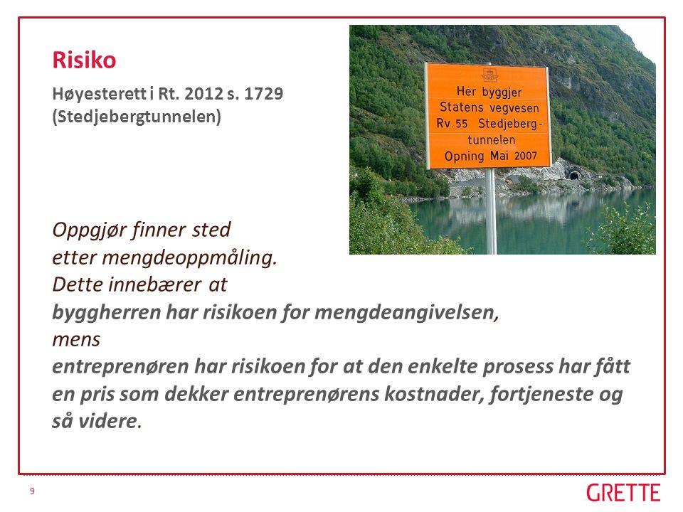 9 Risiko Høyesterett i Rt. 2012 s. 1729 (Stedjebergtunnelen) Oppgjør finner sted etter mengdeoppmåling. Dette innebærer at byggherren har risikoen for
