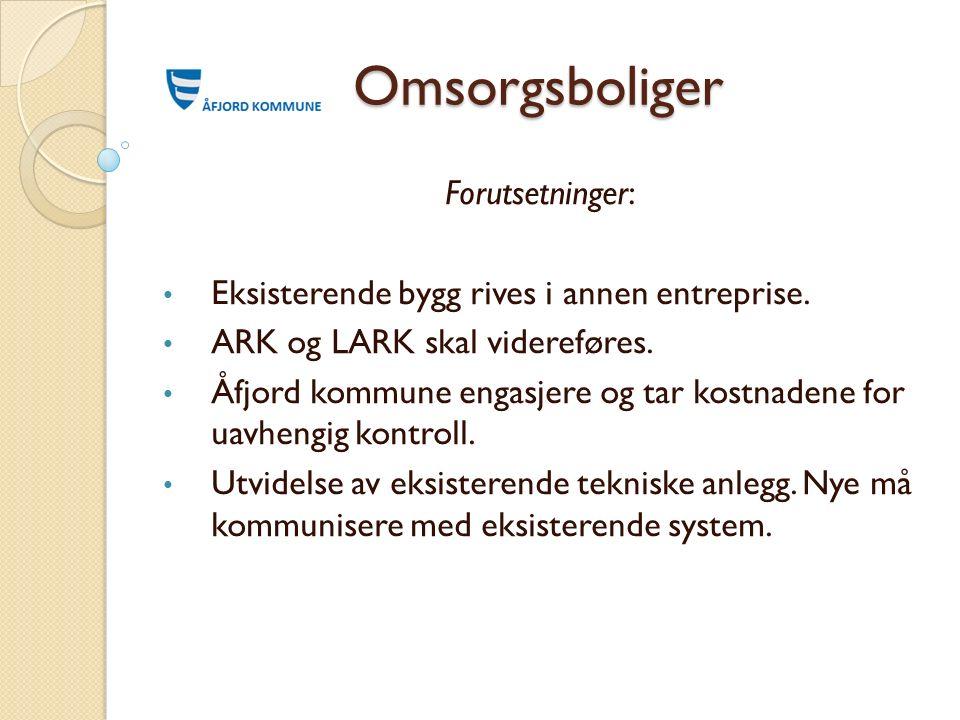 Omsorgsboliger Forutsetninger: Eksisterende bygg rives i annen entreprise. ARK og LARK skal videreføres. Åfjord kommune engasjere og tar kostnadene fo