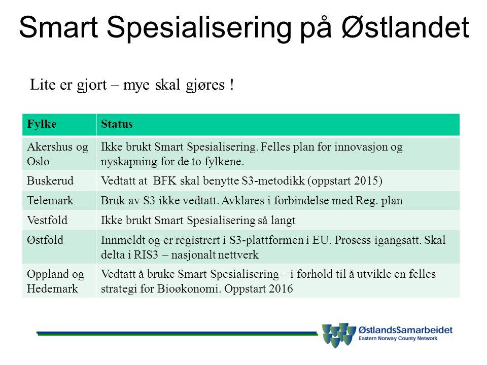 Smart Spesialisering på Østlandet FylkeStatus Akershus og Oslo Ikke brukt Smart Spesialisering.