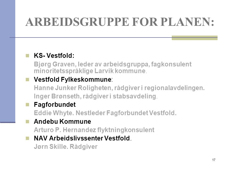 17 ARBEIDSGRUPPE FOR PLANEN: KS- Vestfold: Bjørg Graven, leder av arbeidsgruppa, fagkonsulent minoritetsspråklige Larvik kommune. Vestfold Fylkeskommu