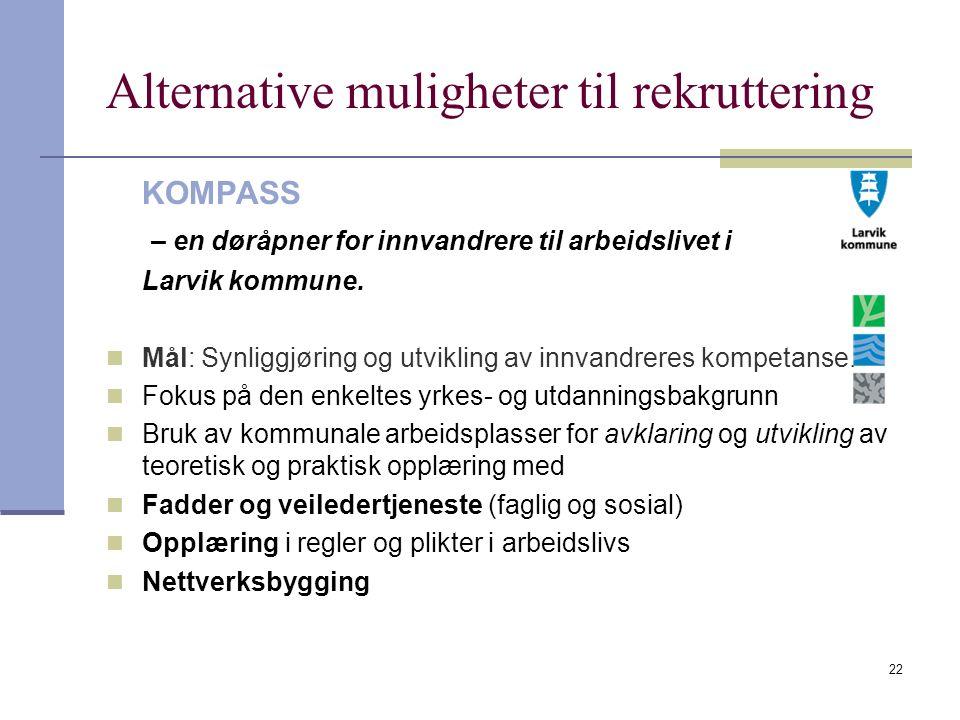 22 Alternative muligheter til rekruttering KOMPASS – en døråpner for innvandrere til arbeidslivet i Larvik kommune. Mål: Synliggjøring og utvikling av