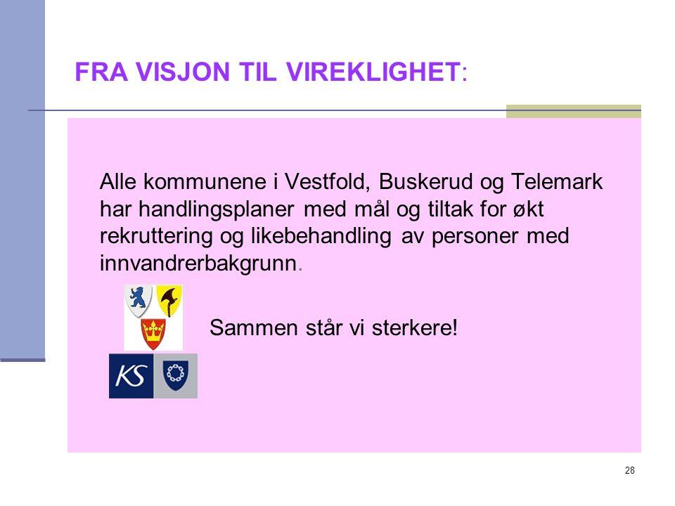 28 FRA VISJON TIL VIREKLIGHET: Alle kommunene i Vestfold, Buskerud og Telemark har handlingsplaner med mål og tiltak for økt rekruttering og likebehandling av personer med innvandrerbakgrunn.