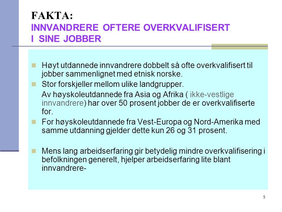 5 FAKTA: INNVANDRERE OFTERE OVERKVALIFISERT I SINE JOBBER Høyt utdannede innvandrere dobbelt så ofte overkvalifisert til jobber sammenlignet med etnisk norske.