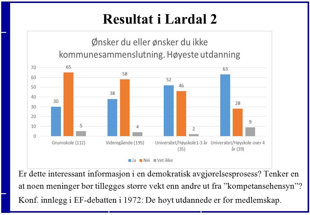 20.09.2016 Resultat i Lardal 2 Er dette interessant informasjon i en demokratisk avgjørelsesprosess.