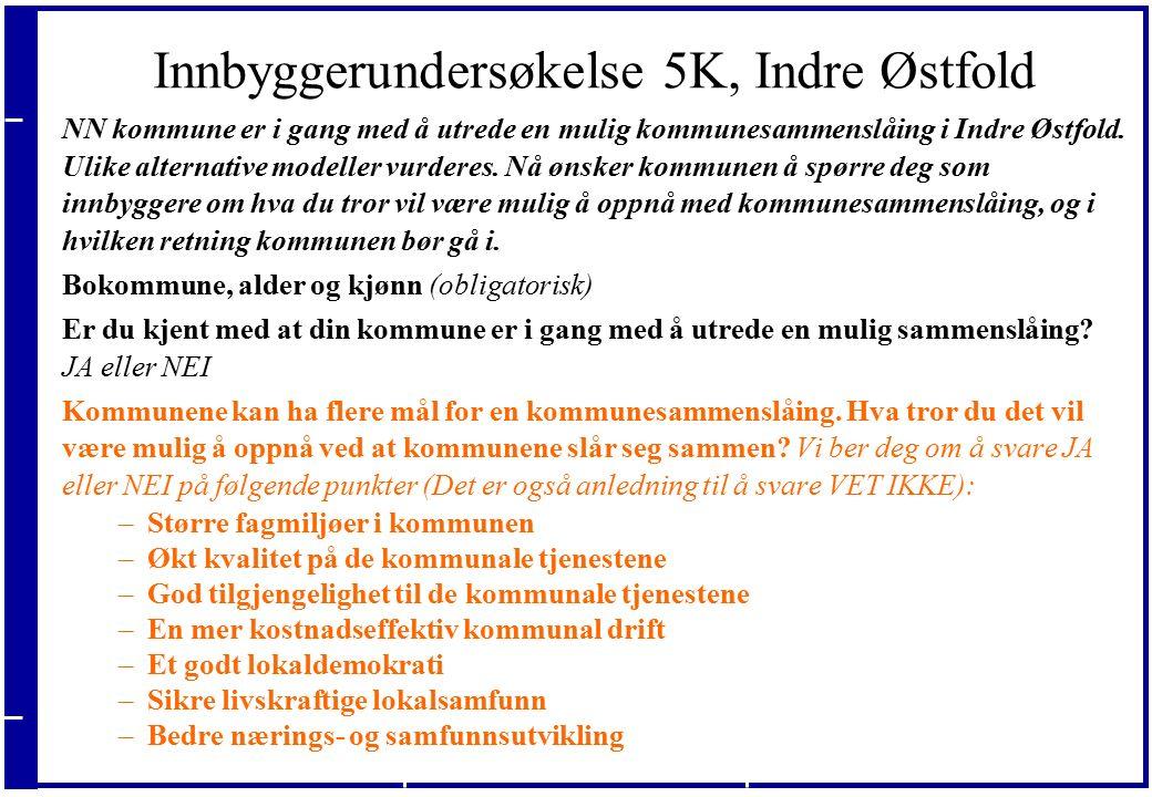 20.09.2016 Innbyggerundersøkelse 5K, Indre Østfold NN kommune er i gang med å utrede en mulig kommunesammenslåing i Indre Østfold.