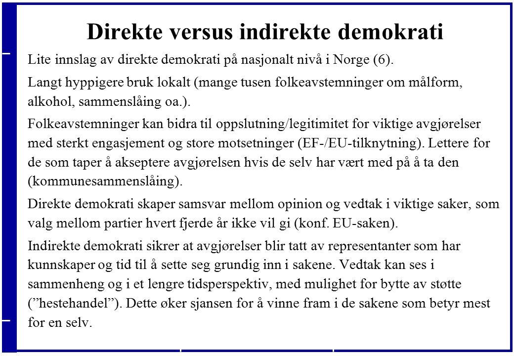 20.09.2016 Direkte versus indirekte demokrati Lite innslag av direkte demokrati på nasjonalt nivå i Norge (6).