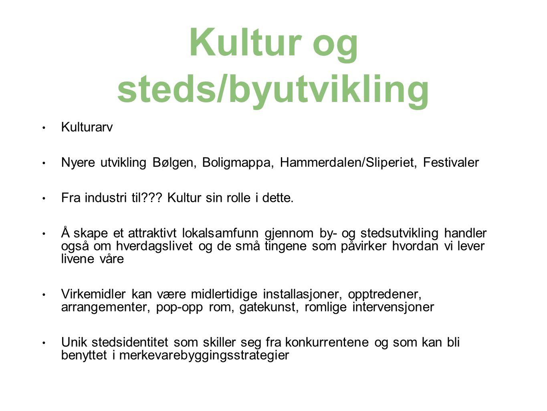 Kultur og steds/byutvikling Kulturarv Nyere utvikling Bølgen, Boligmappa, Hammerdalen/Sliperiet, Festivaler Fra industri til??.