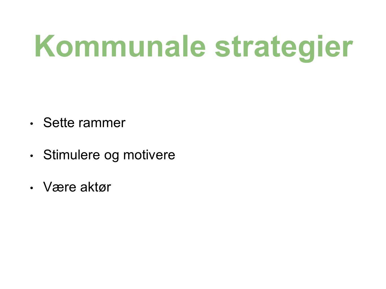 Kommunale strategier Sette rammer Stimulere og motivere Være aktør