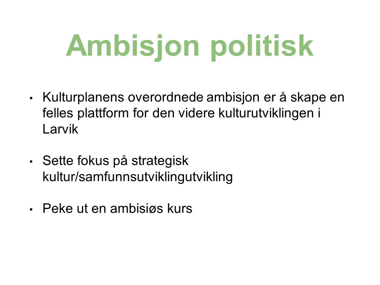Ambisjon politisk Kulturplanens overordnede ambisjon er å skape en felles plattform for den videre kulturutviklingen i Larvik Sette fokus på strategisk kultur/samfunnsutviklingutvikling Peke ut en ambisiøs kurs