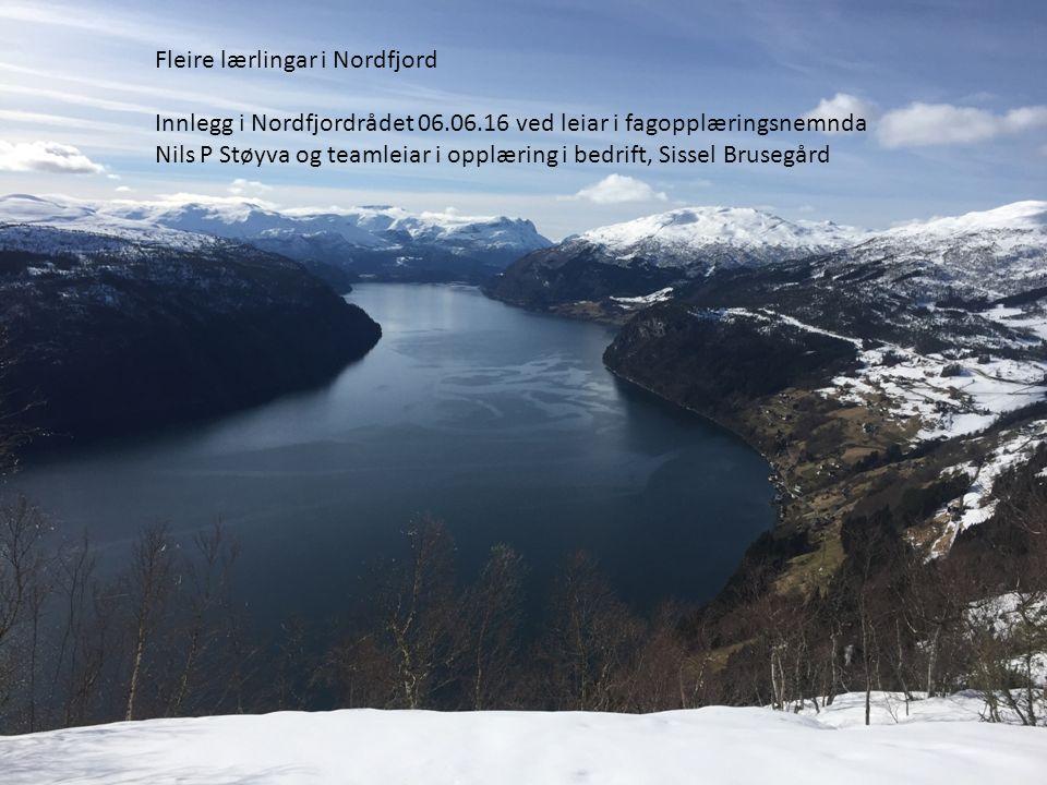 www.sfj.no Fleire lærlingar i Nordfjord Innlegg i Nordfjordrådet 06.06.16 ved leiar i fagopplæringsnemnda Nils P Støyva og teamleiar i opplæring i bedrift, Sissel Brusegård