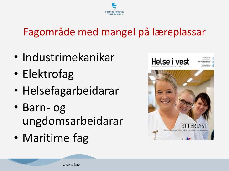 Fagområde med mangel på læreplassar Industrimekanikar Elektrofag Helsefagarbeidarar Barn- og ungdomsarbeidarar Maritime fag www.sfj.no