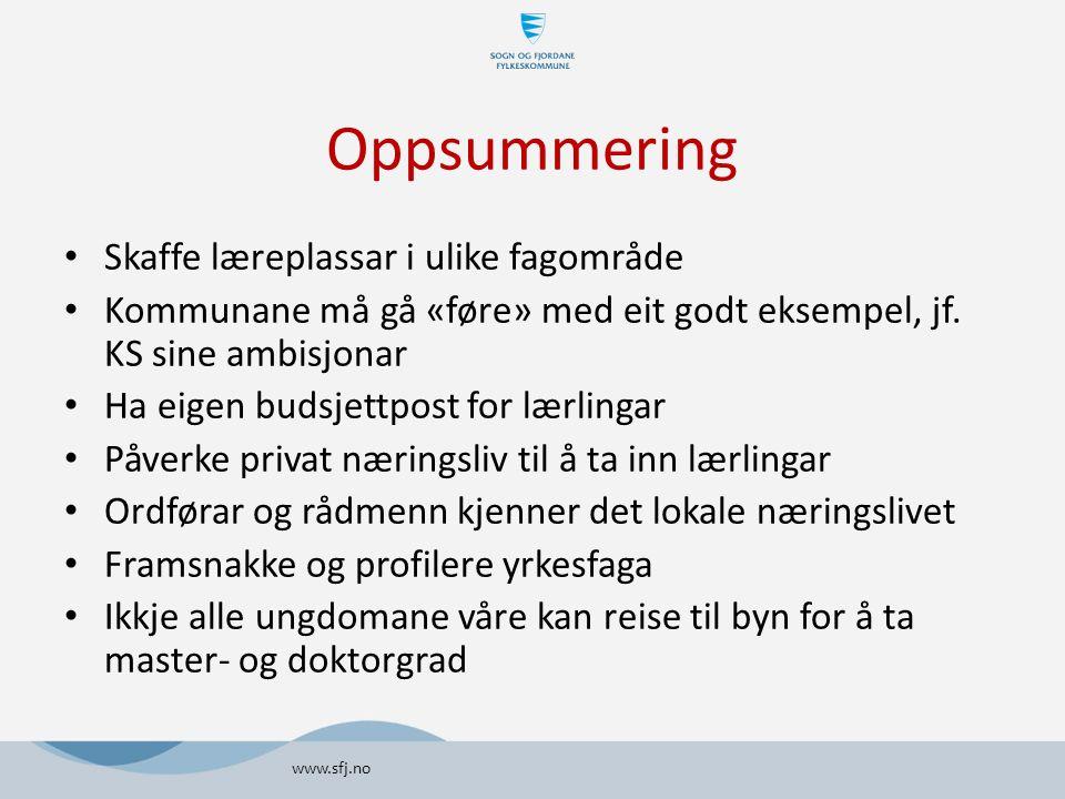 Oppsummering Skaffe læreplassar i ulike fagområde Kommunane må gå «føre» med eit godt eksempel, jf.