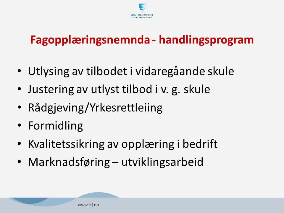 Fagopplæringsnemnda - handlingsprogram Utlysing av tilbodet i vidaregåande skule Justering av utlyst tilbod i v.