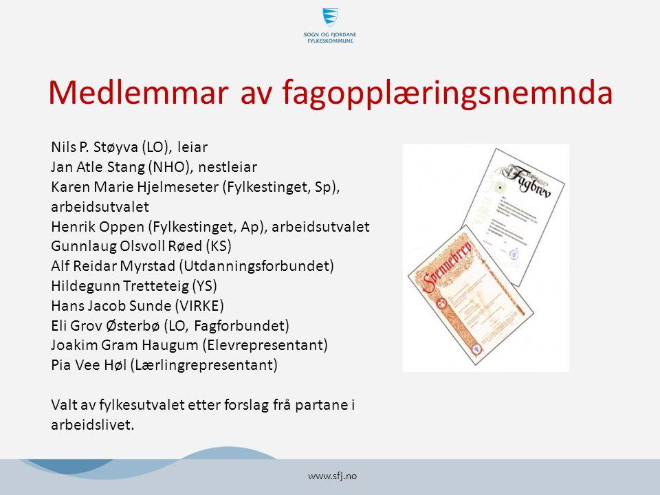 Medlemmar av fagopplæringsnemnda www.sfj.no Nils P.