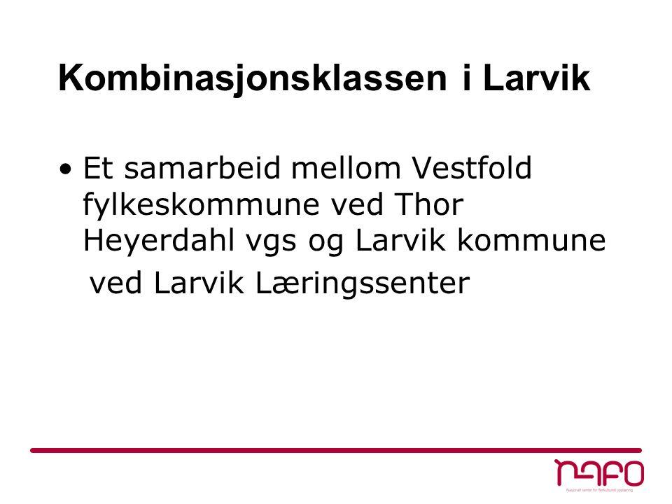 Kombinasjonsklassen i Larvik Et samarbeid mellom Vestfold fylkeskommune ved Thor Heyerdahl vgs og Larvik kommune ved Larvik Læringssenter