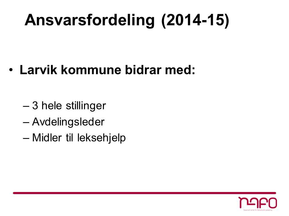 Ansvarsfordeling (2014-15) Larvik kommune bidrar med: –3 hele stillinger –Avdelingsleder –Midler til leksehjelp