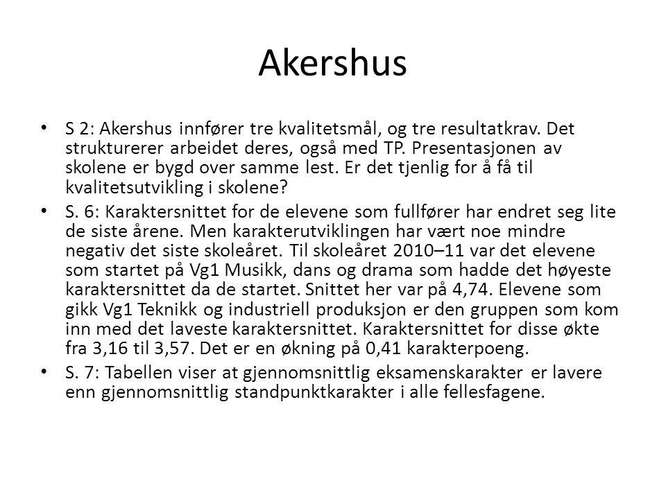 Akershus S 2: Akershus innfører tre kvalitetsmål, og tre resultatkrav. Det strukturerer arbeidet deres, også med TP. Presentasjonen av skolene er bygd
