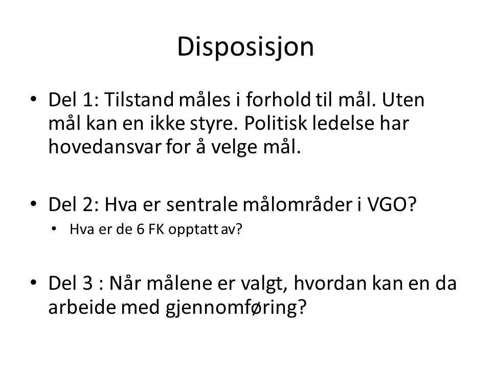 Disposisjon Del 1: Tilstand måles i forhold til mål.