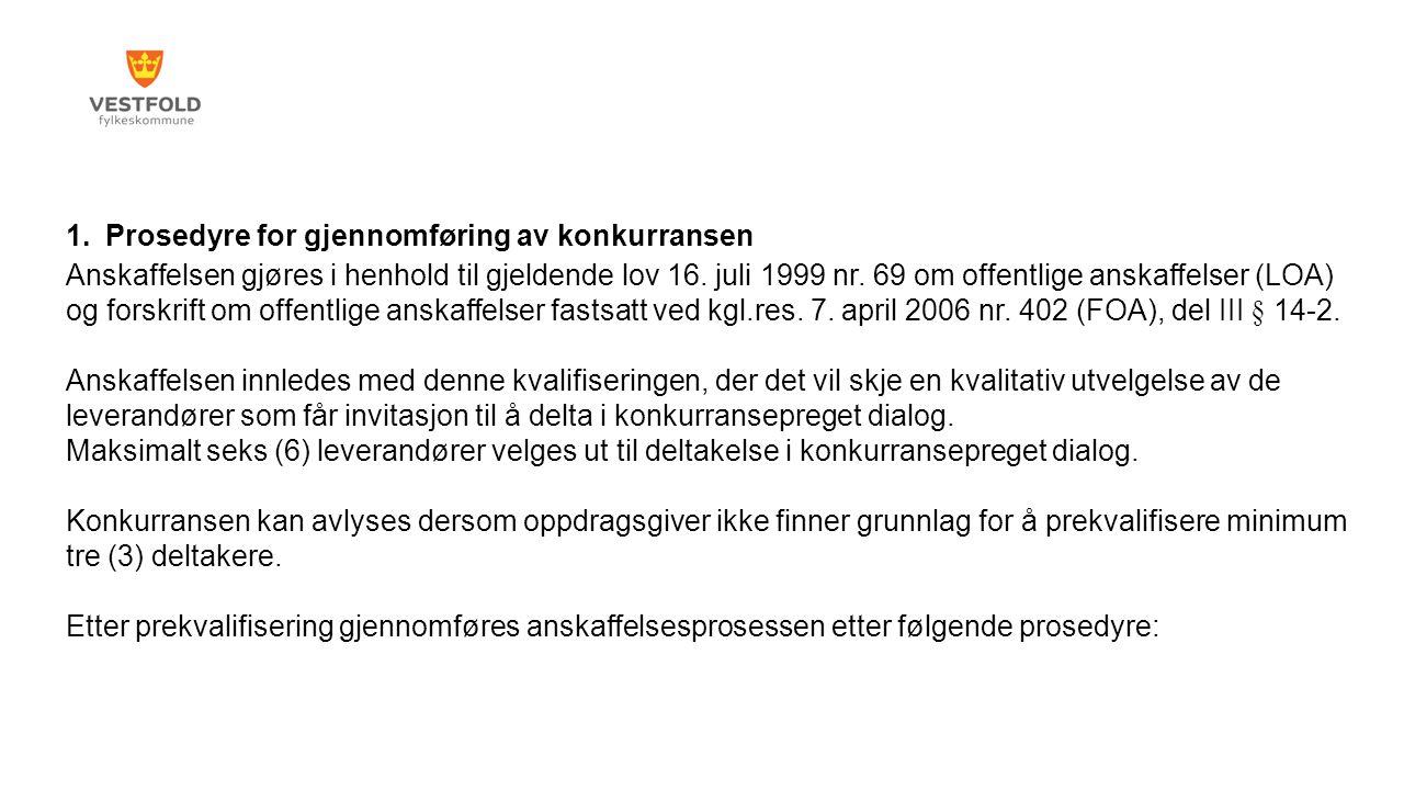 1.Prosedyre for gjennomføring av konkurransen Anskaffelsen gjøres i henhold til gjeldende lov 16.