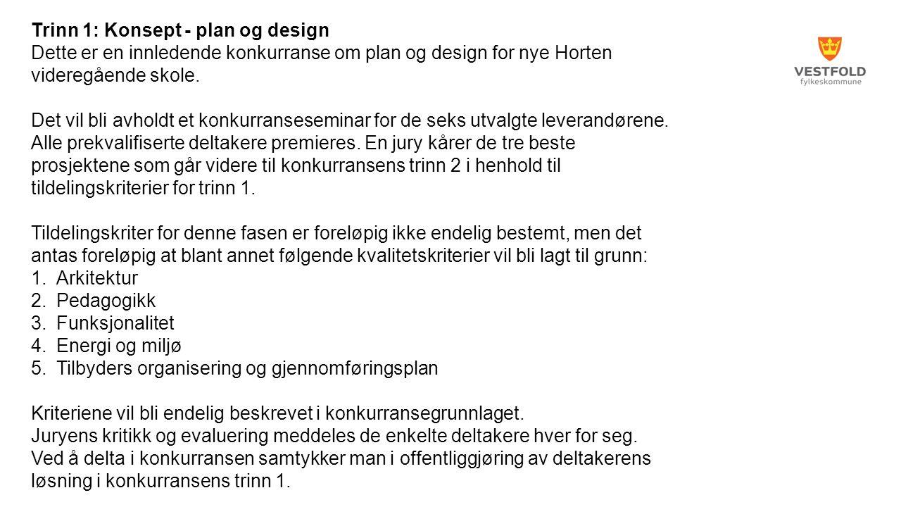 Trinn 1: Konsept - plan og design Dette er en innledende konkurranse om plan og design for nye Horten videregående skole.