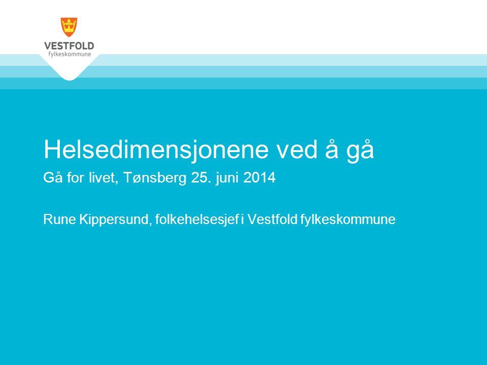 Helsedimensjonene ved å gå Gå for livet, Tønsberg 25. juni 2014 Rune Kippersund, folkehelsesjef i Vestfold fylkeskommune