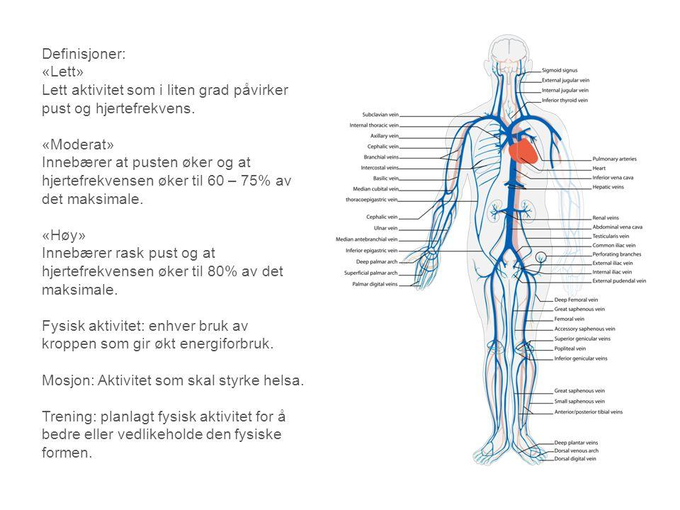 Definisjoner: «Lett» Lett aktivitet som i liten grad påvirker pust og hjertefrekvens. «Moderat» Innebærer at pusten øker og at hjertefrekvensen øker t