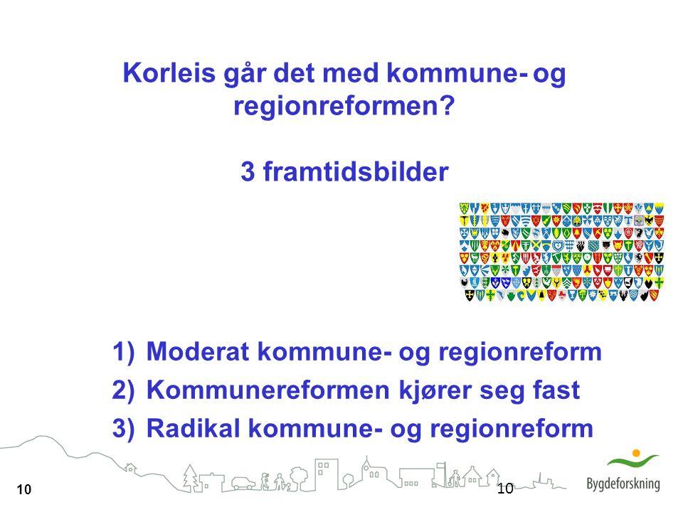 10 Korleis går det med kommune- og regionreformen? 3 framtidsbilder 10 1)Moderat kommune- og regionreform 2)Kommunereformen kjører seg fast 3)Radikal