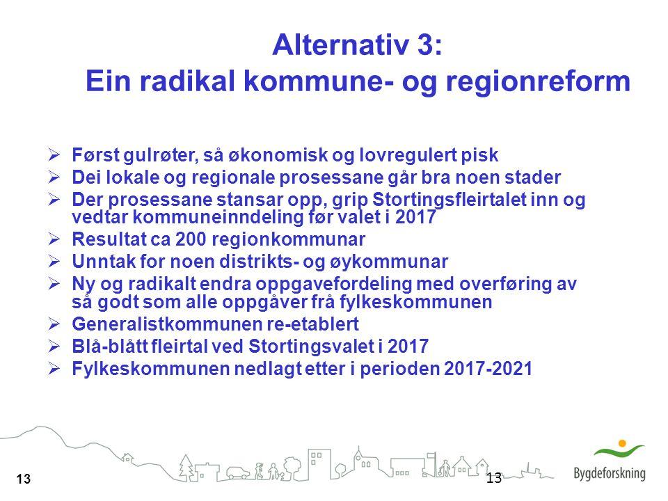 13 Alternativ 3: Ein radikal kommune- og regionreform  Først gulrøter, så økonomisk og lovregulert pisk  Dei lokale og regionale prosessane går bra