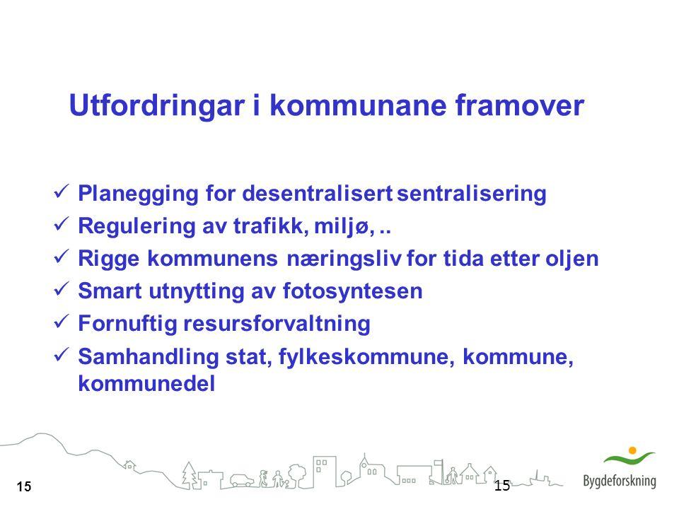 15 Utfordringar i kommunane framover Planegging for desentralisert sentralisering Regulering av trafikk, miljø,.. Rigge kommunens næringsliv for tida
