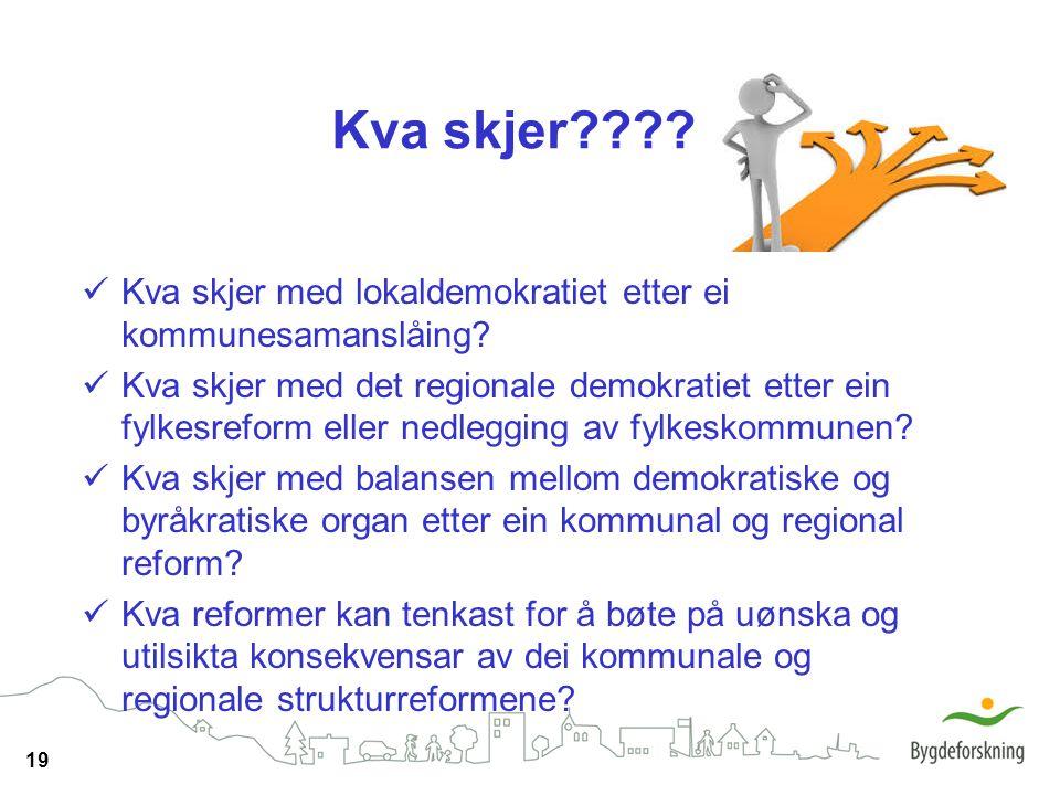19 Kva skjer???? Kva skjer med lokaldemokratiet etter ei kommunesamanslåing? Kva skjer med det regionale demokratiet etter ein fylkesreform eller nedl