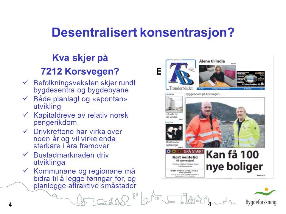 4 Desentralisert konsentrasjon? Kva skjer på 7212 Korsvegen? Befolkningsveksten skjer rundt bygdesentra og bygdebyane Både planlagt og «spontan» utvik